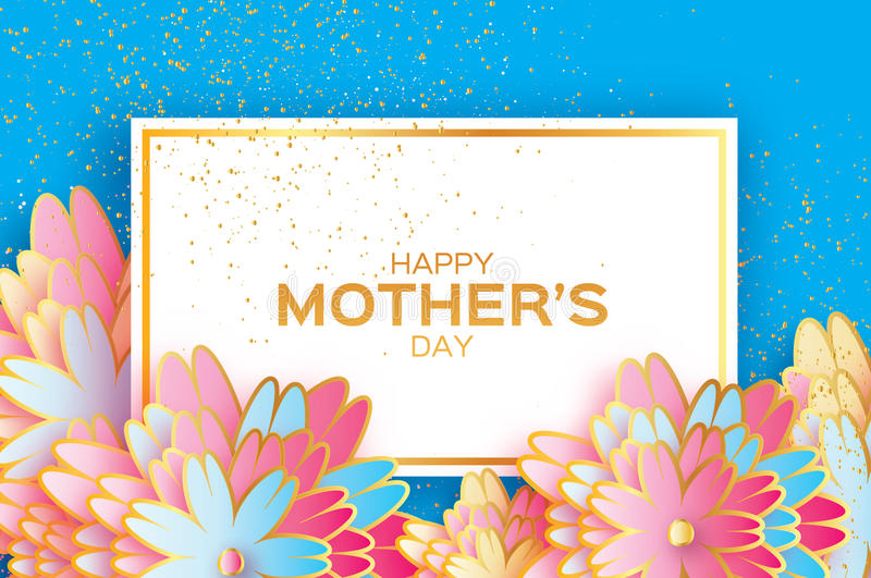 Happy Mothers Day. Origami Gold Floral Greeting card. Paper cut flower . Rectangle frame. royalty free illustration