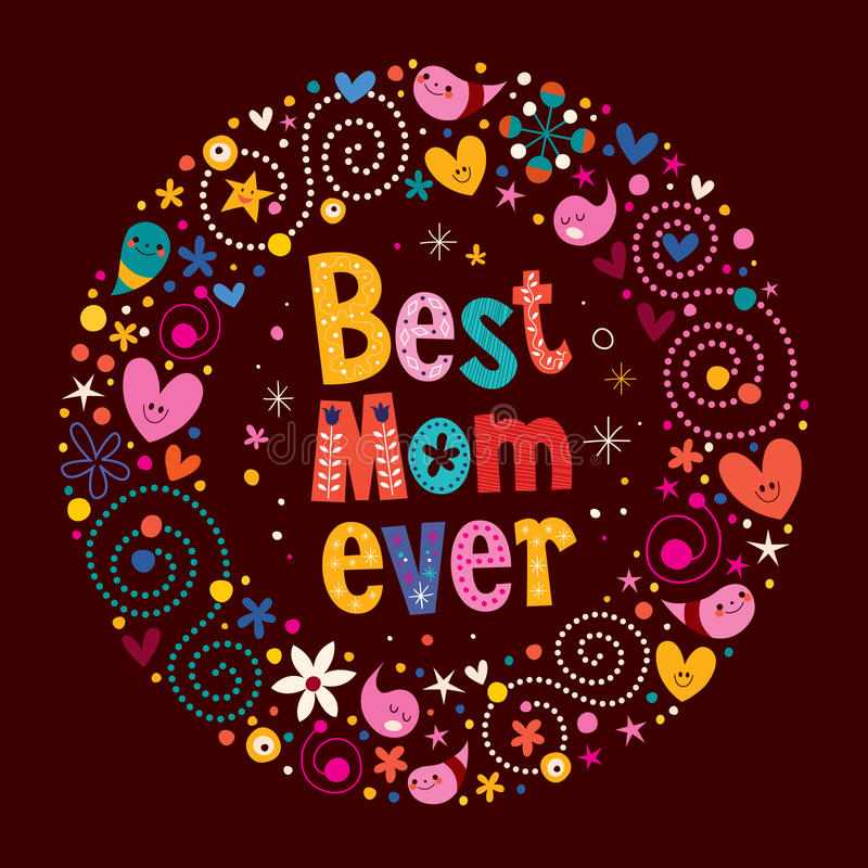 Happy Mothers Day retro card Best Mom Ever vector illustration