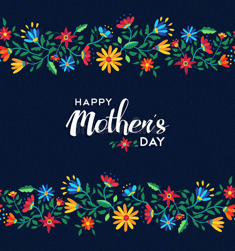 Happy mothers day retro floral pattern background royalty free stock photos