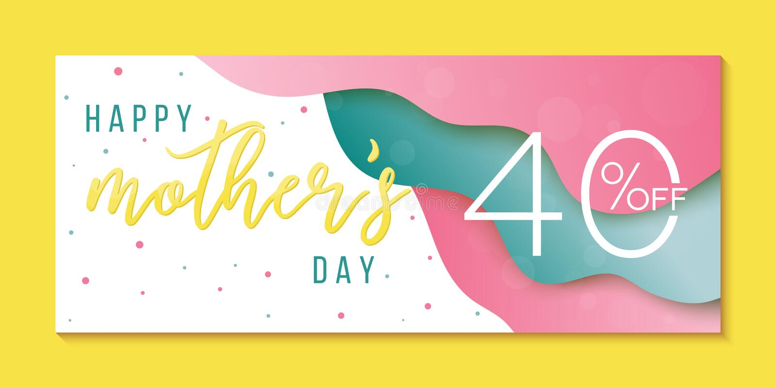 Happy Mothers Day sale banner. Colorful template for your business. Creative papercut background royalty free illustration