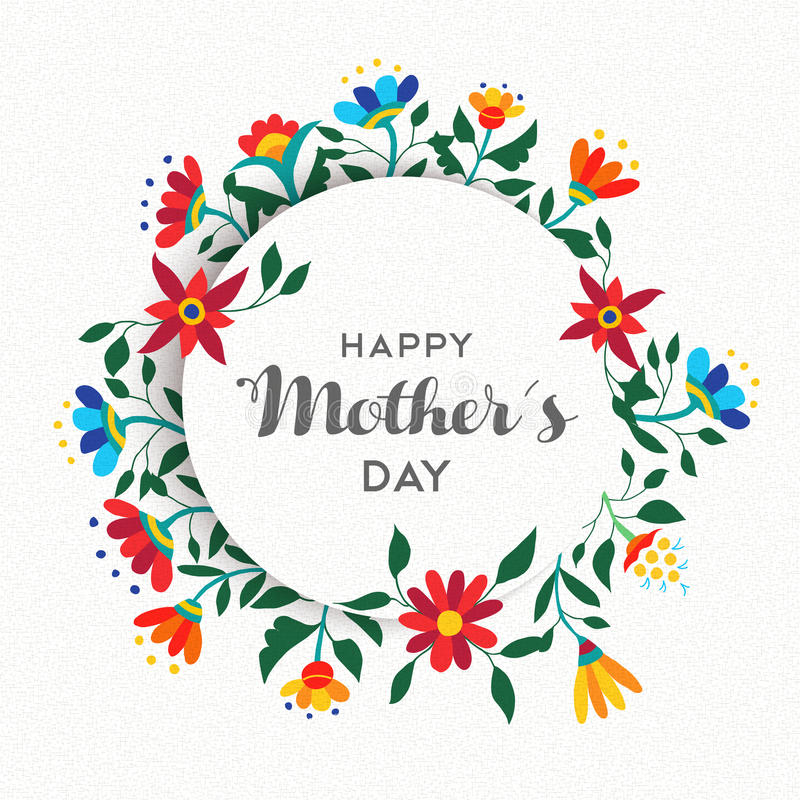Happy mothers day simple floral ornament design stock photo