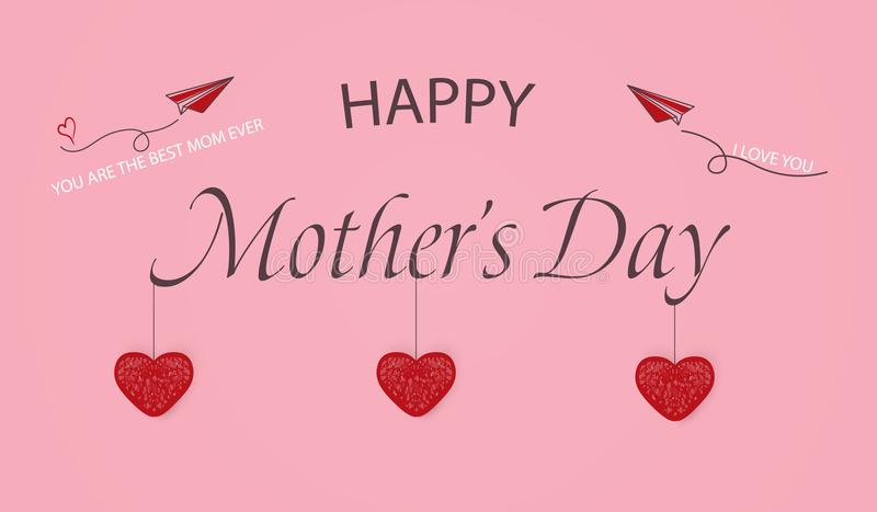Happy Mothers Day template greeting card. You are the Best Mom ever. I Love you. Mothers Day Banner, flyer, invitation royalty free illustration