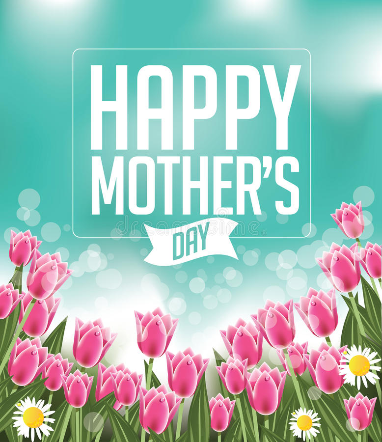 Free Happy Mothers Day Tulips Design EPS 10 Vector Royalty Free Stock Photography - 51233027