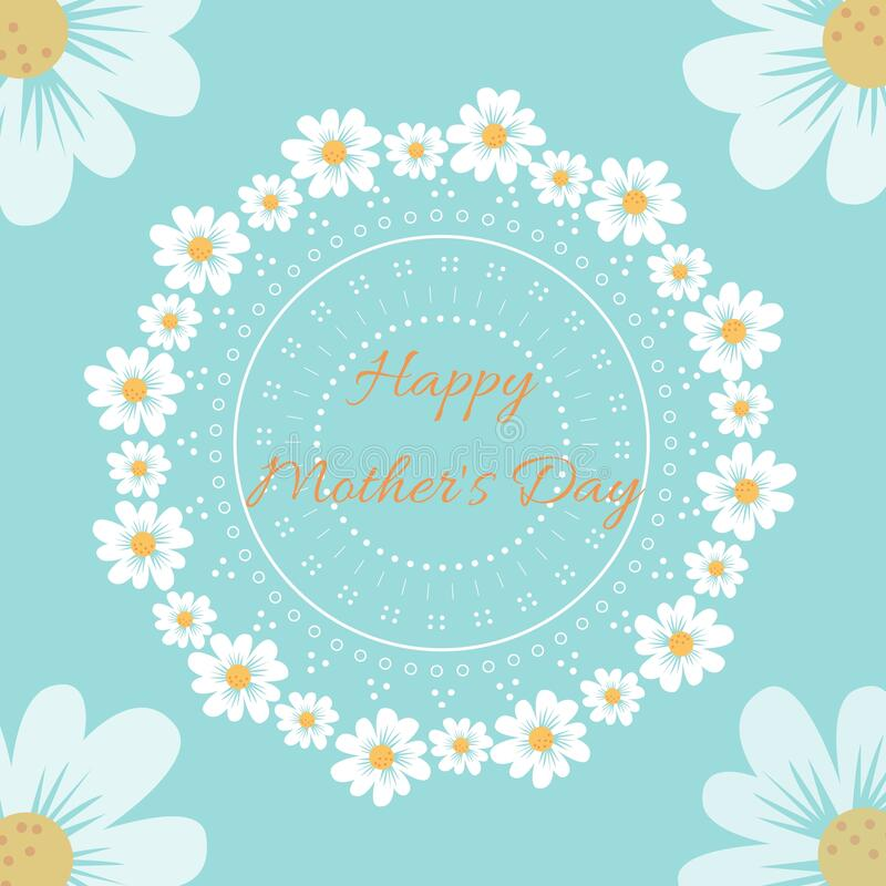 Happy mothers day vector concept illustration with daysies on a blue background stock illustration