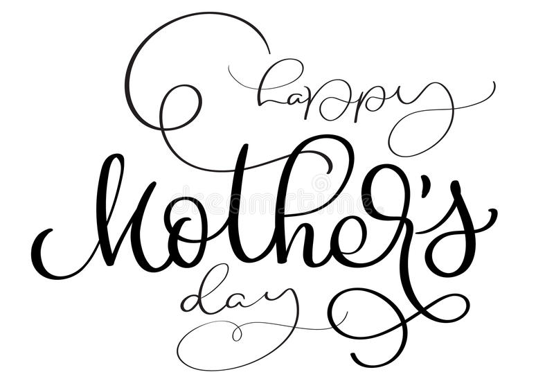 Download Happy Mothers Day Vector Vintage Text On White Background Calligraphy Lettering Illustration EPS10 Stock