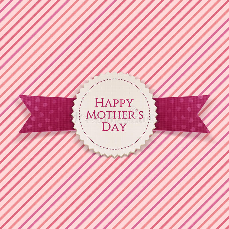 Happy Mothers Day white paper Emblem. And purple festive Ribbon with Hearts Pattern on striped pink Background. Vector Illustration stock illustration