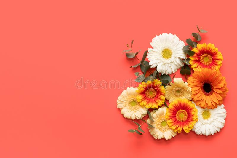 Happy Mothers Day, Womens Day, Valentines Day or Birthday Living Coral Pantone Color Background. Coral flat lay greeting card. Happy Mothers Day, Womens Day royalty free stock photo