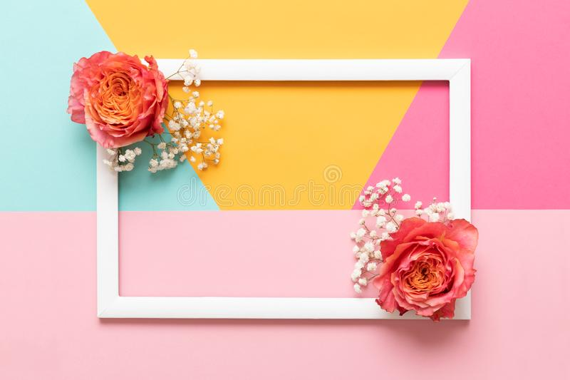 Happy Mothers Day, Womens Day, Valentines Day or Birthday Pastel Colored Background. Flat lay mock up greeting card. Happy Mothers Day, Womens Day, Valentines royalty free stock photos