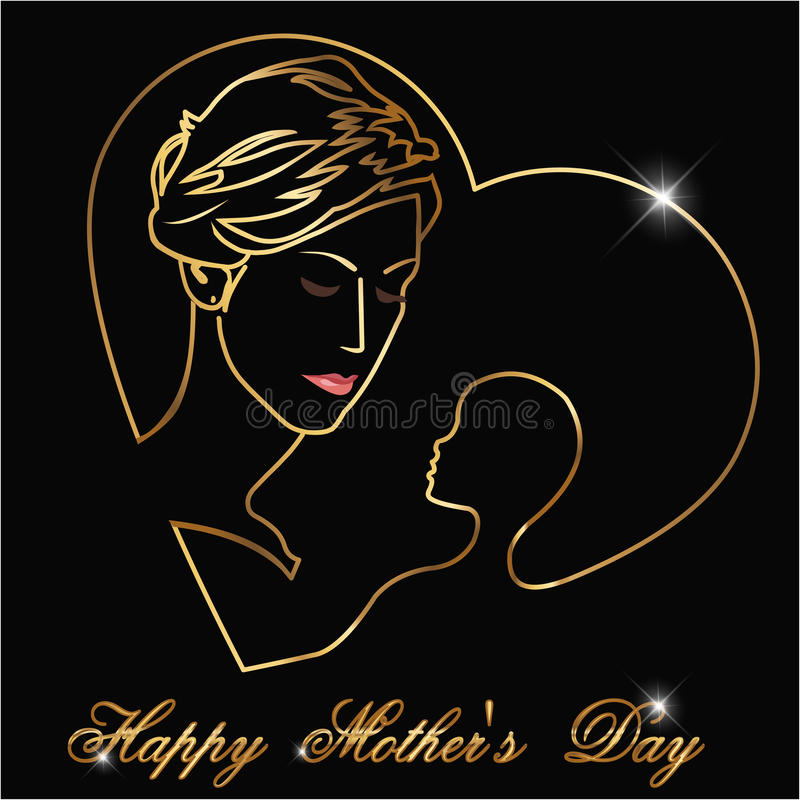 Happy Motherss Day, Silhouette of a mother and child with golden outline Happy Mothers Day celebration royalty free illustration