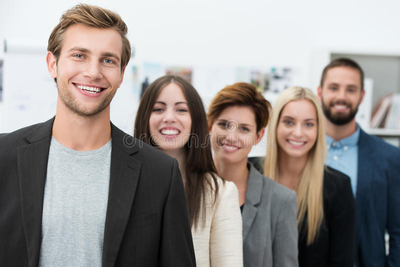 Happy motivated business team stock photos