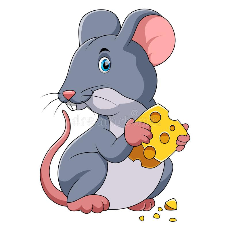 Happy mouse cartoon with cheese vector illustration
