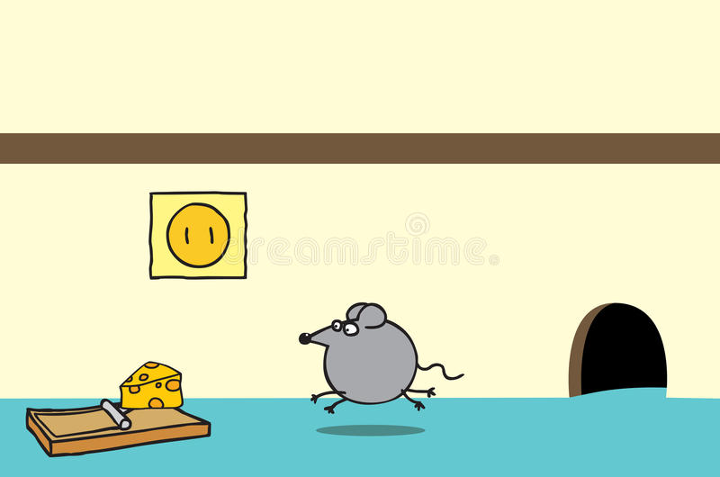 Download Happy Mouse And Cheese On A Trap Stock Vector - Image: 25726731