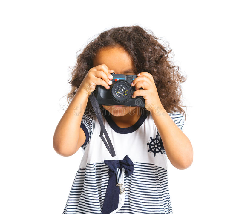 Download Happy Mulatto Girl With Camera Stock Image - Image: 24899261