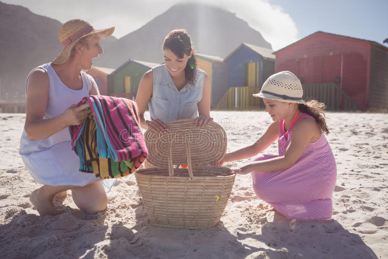 Happy multi-generation family by picnic basket at beach stock images