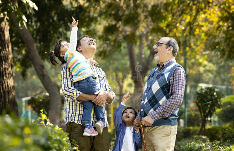 Happy multi generation Indian family at park outdoor royalty free stock photos