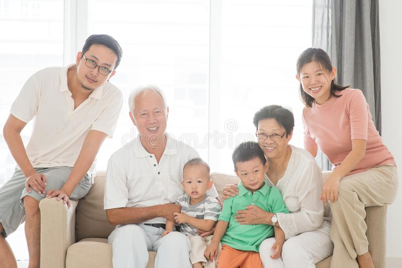 Happy multi generations family portrait stock photos