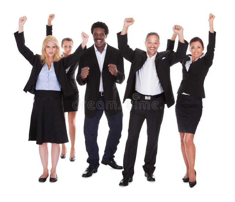 Happy multi-racial group of business people stock photo