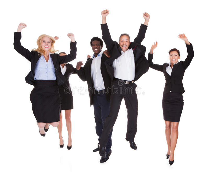 Happy multi-racial group of business people royalty free stock photo