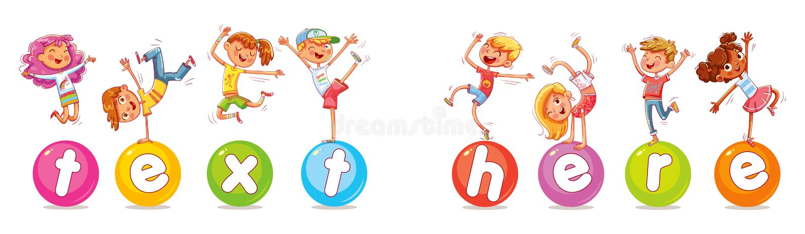 Happy multiracial children jumping and dancing on the balls. Children are balancing on big balls. Happy multiracial children jumping and dancing on the stock illustration