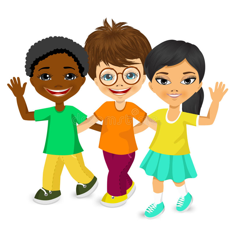 Happy multiracial children walking together vector illustration