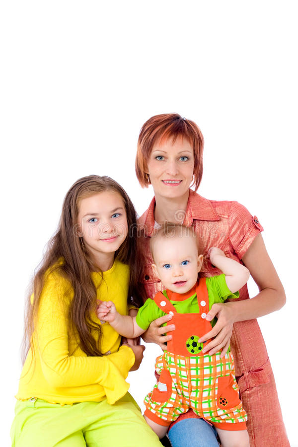 Happy Mum With Two Children Stock Photo