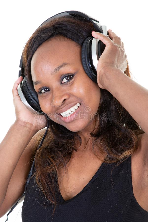 Happy Music african american woman with headphones royalty free stock photo