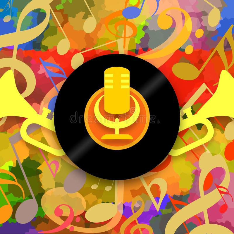Happy music background. With golden microphone, vinyl record and loud trumpets vector illustration
