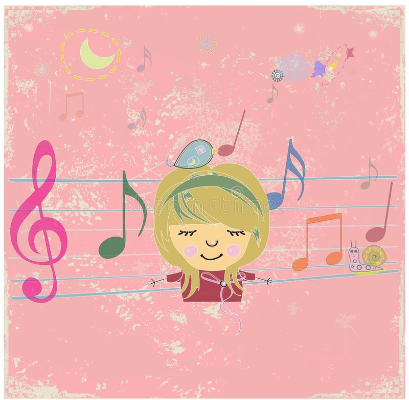 Happy music design with little girl. royalty free illustration