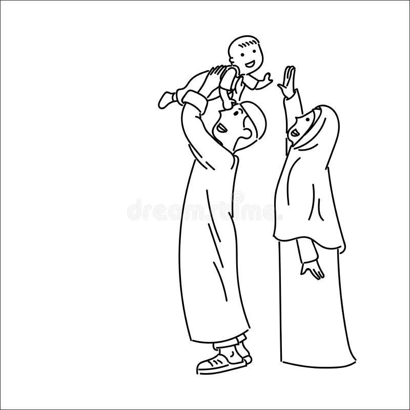 Happy Muslim family, simple line cartoon Illustration royalty free illustration