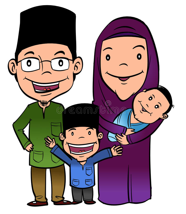Happy muslim family royalty free illustration