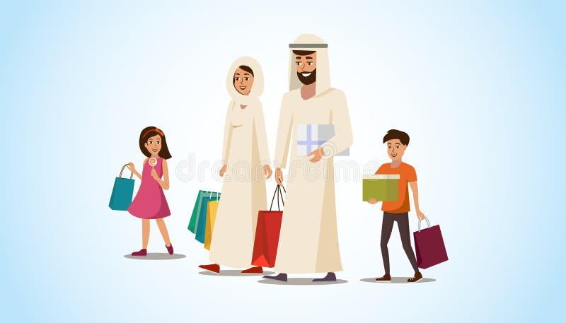 Happy Muslim Family Shopping Flat Vector Concept vector illustration