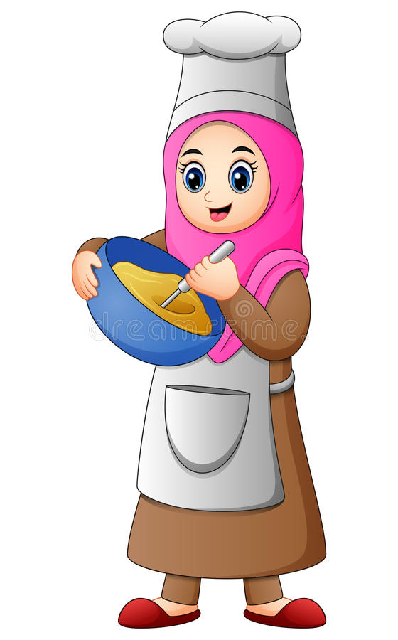 Free Happy Muslim Girl Cooking Stock Images - 93530424