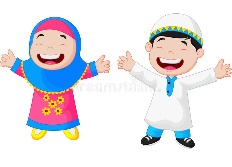 Happy Muslim kid cartoon royalty free illustration