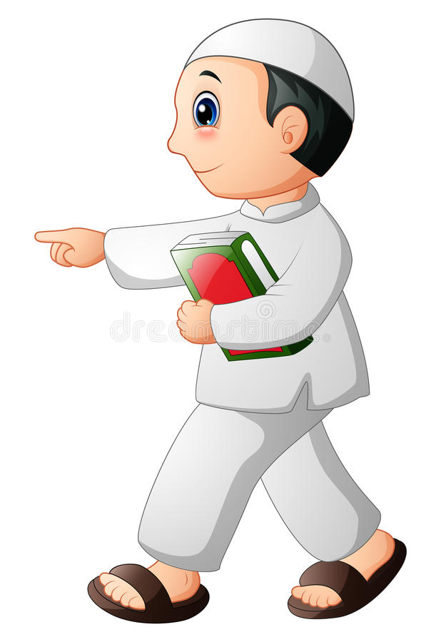 Happy Muslim kid showing with holding quran. Illustration of Happy Muslim kid showing with holding Quran royalty free illustration