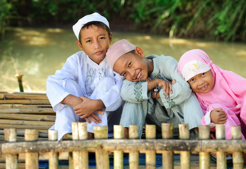Happy Muslim Kids Outdoor royalty free stock photo