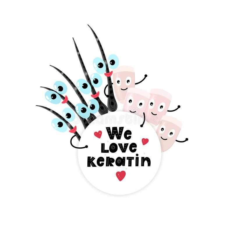 Happy nails and hair peeking out from under the round frame that says We love keratin. Beauty and care. Hand drawn cute cartoon design. Lettering. Advertising royalty free illustration
