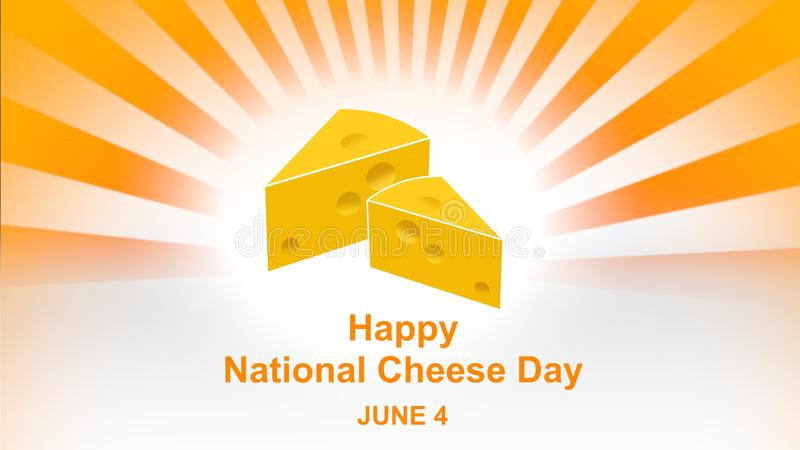 Happy National Cheese Day lettering on colourful sunbeam background. National Cheese Day Poster and banner, June 4. vector illustration