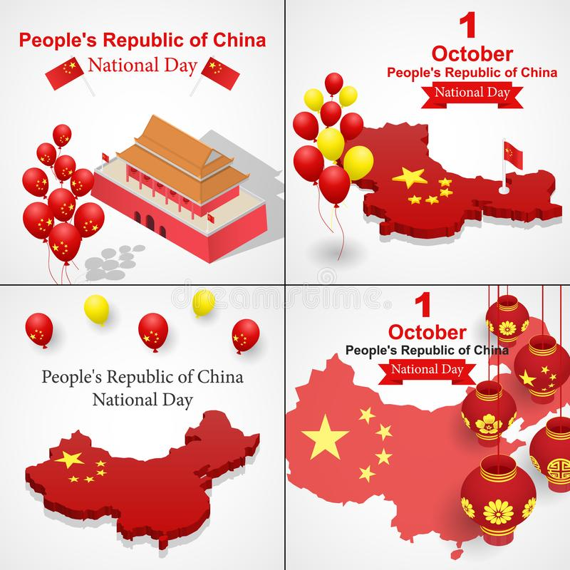 Happy national day in China banner set, isometric style vector illustration