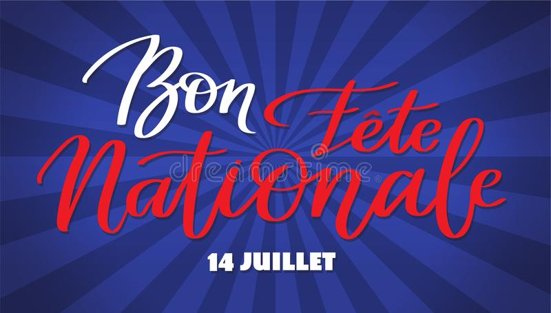 Happy national day, july 14 - text on french language, hand-writing, typography calligraphy royalty free illustration