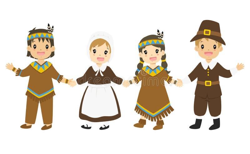 Download Pilgrim And Native American Boys Girls Holding Hands Cartoon Vector Stock