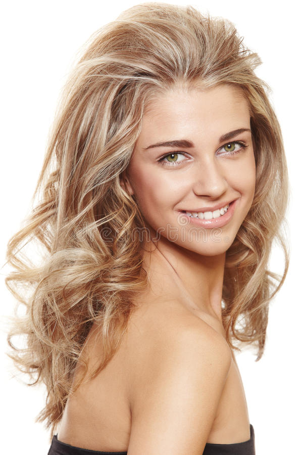 Happy natural blond woman stock photo