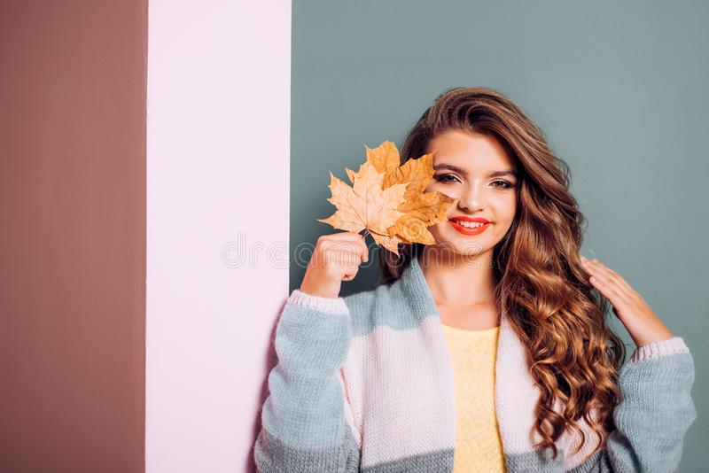 Happy with natural looking skin. Makeup girl. Visage model with decorative fall makeup. Fall look. Pretty girl cover stock photos