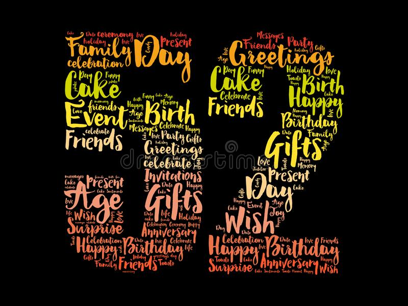 Happy 52nd birthday word cloud. Holiday concept background vector illustration