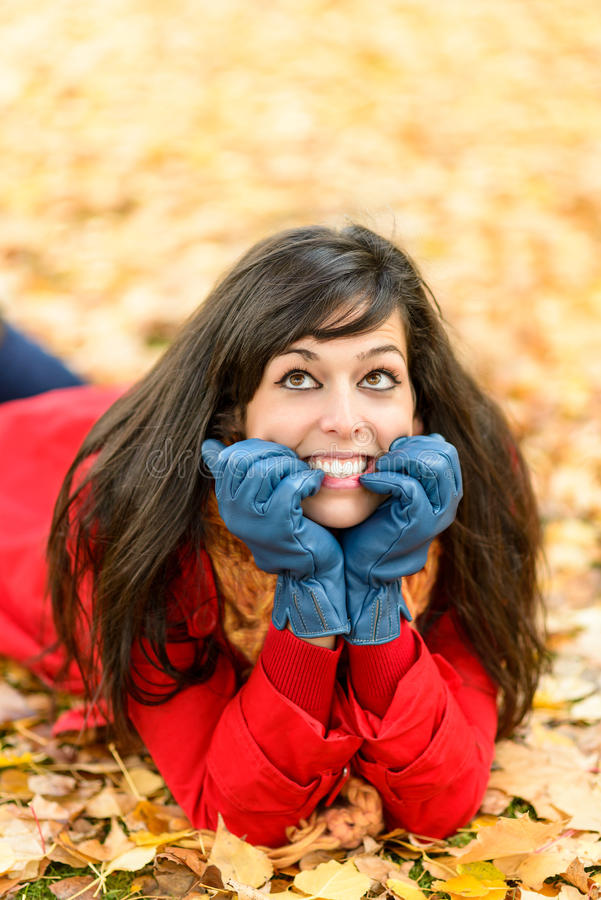Download Happy Nervous Girl On Autumn Thinking Stock Image - Image: 32081477