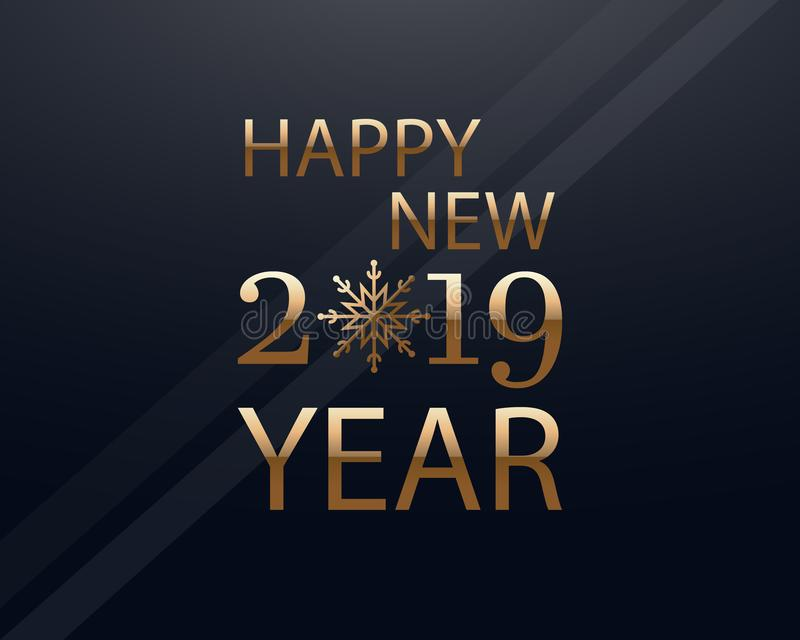 Happy New 2019 Year simple greeting card in gold. vector illustration