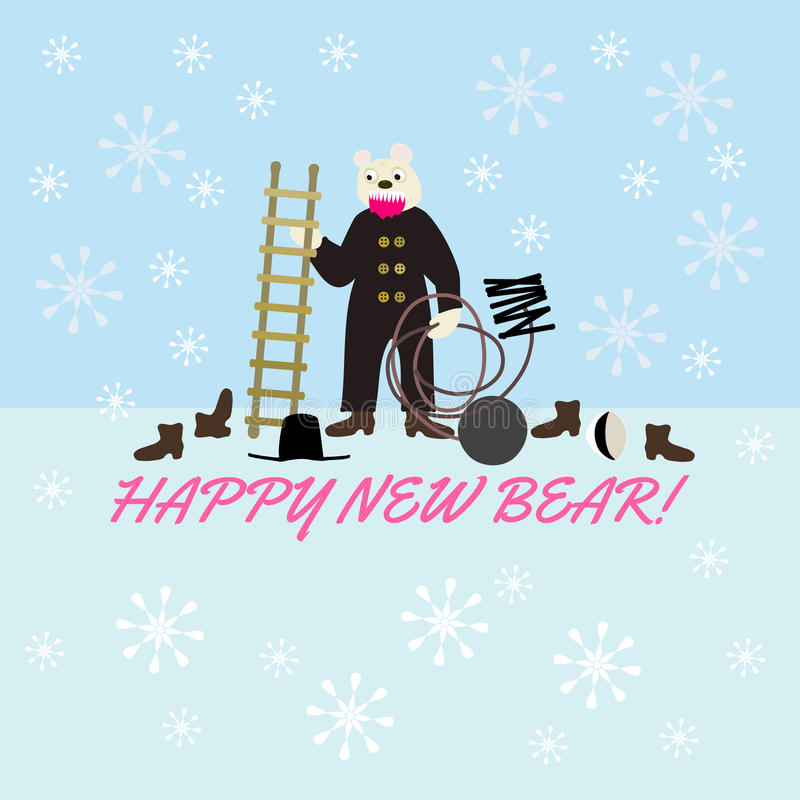 Happy New Evil Bear - wordplay with dark sarcasm stock images