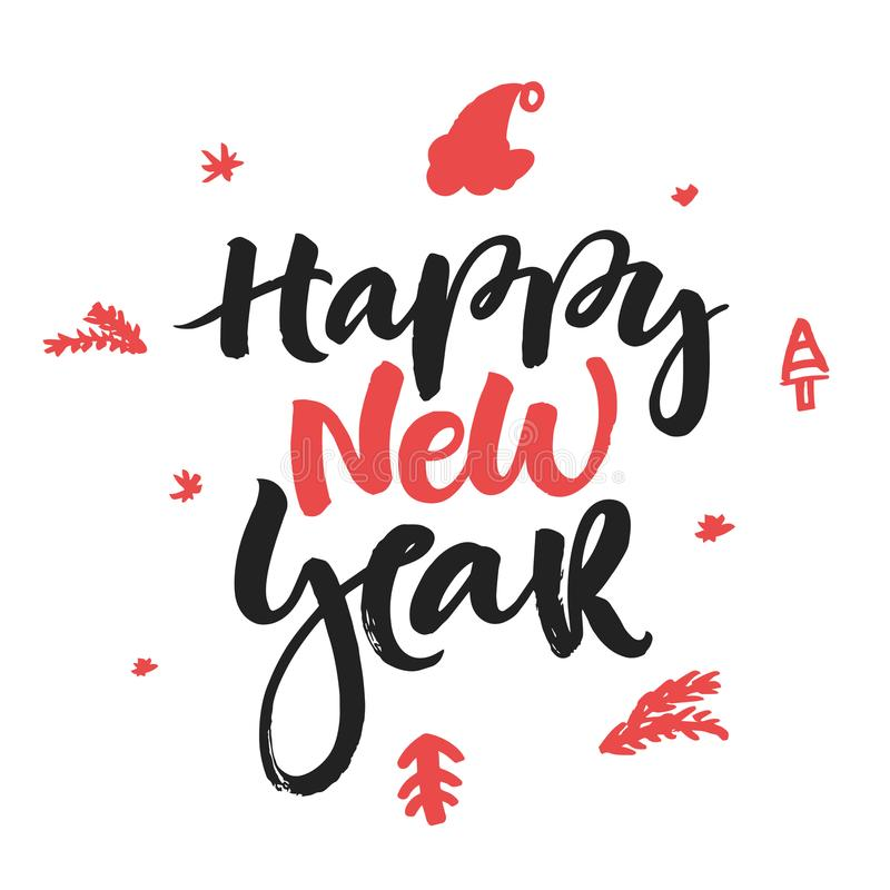 Happy new ew year - handdrawn Christmas lettering for greeting cards and invitations. royalty free stock photo