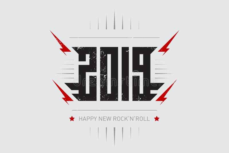Happy New Rock`n`roll 2019 - music poster with stylized inscription, red lightnings and star. T-shirt apparels cool print with stock illustration