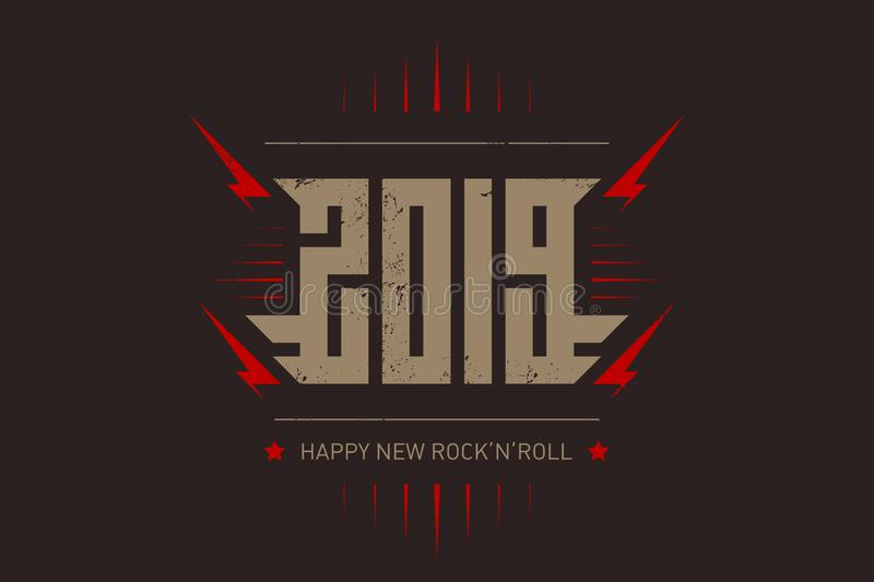 Happy New Rock `n `roll - music poster with stylized inscription, red lightnings and star. T-shirt apparels cool print with royalty free illustration
