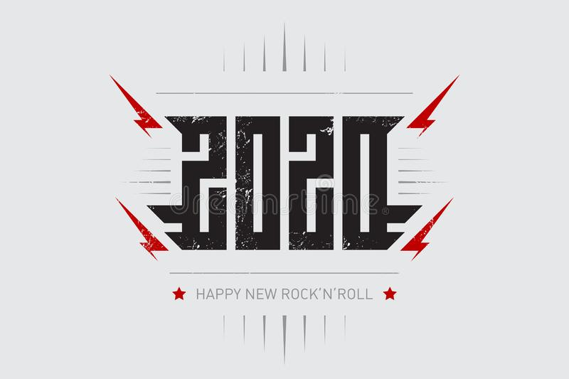 Happy New Rock`n`roll 2020 - music poster with stylized inscription, red lightnings and star. T-shirt apparels cool print with vector illustration